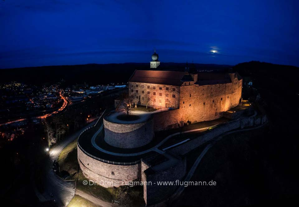plassenburg kulmbach in vollmondnacht flugmann luftbilder. Black Bedroom Furniture Sets. Home Design Ideas