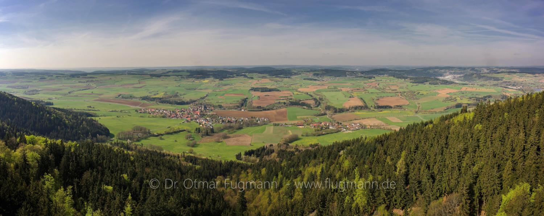 """Seibelsdorf und Landschaftsschutzgebiet """"Melm"""", Blick aus Richtung der Radspitze"""