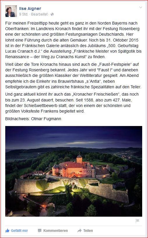 150818 Facebook Ilse Aigner Freizeittipp